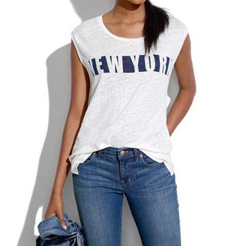 Madewell Linen Ny Stencil Muscle Tee