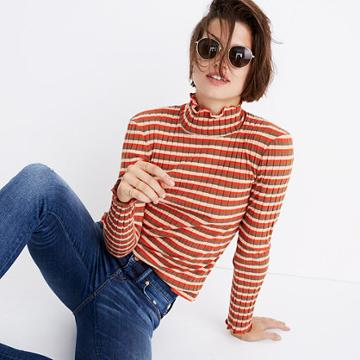 Madewell Ribbed Turtleneck Top In Stripe