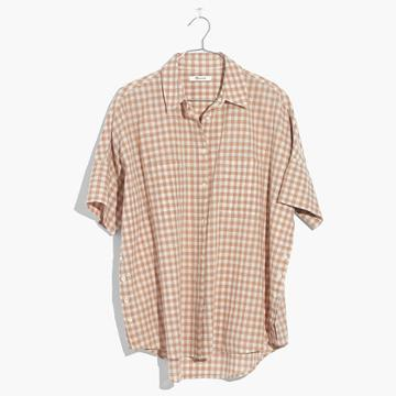Madewell Courier Side-button Shirt In Gingham Check