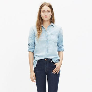 Madewell Chambray Ex-boyfriend Shirt In Buckley Wash