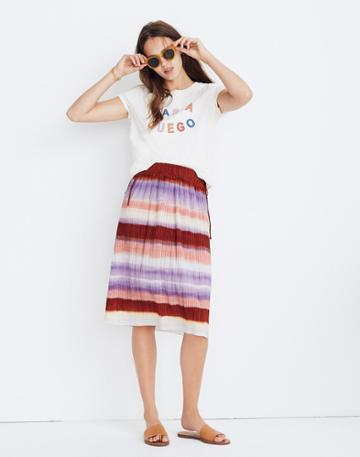 Madewell Texture & Thread Micropleat Midi Skirt In Ombrerainbow