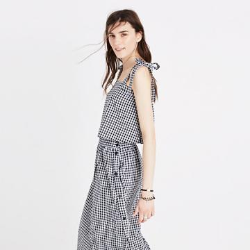 Madewell Tie-strap Tank Top In Gingham Check