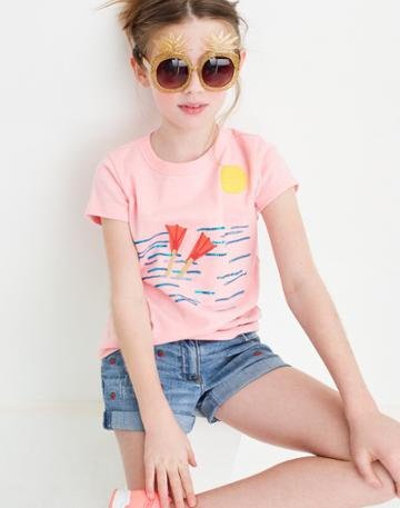 Madewell Madewell X Crewcuts Kids' Strawberry Embroidered Jean Shorts