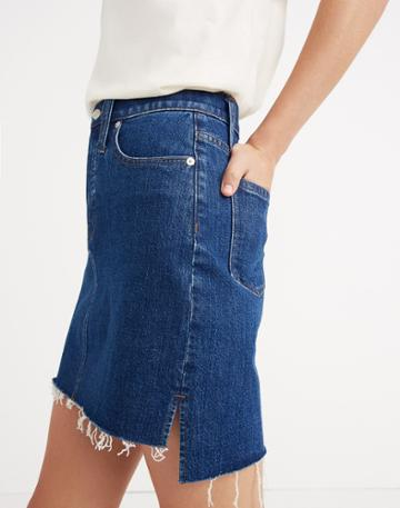 Madewell Stretch Denim Straight Mini Skirt: Step-hem Edition