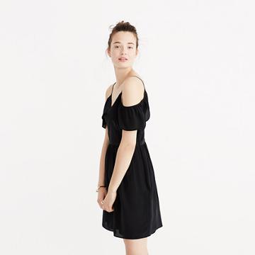 Madewell Silk Cold-shoulder Ruffle Dress