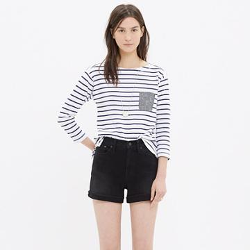 Madewell High-rise Denim Shorts In Washed Black