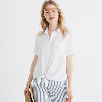 Madewell Short-sleeve Tie-front Shirt