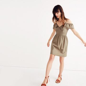 Madewell Khaki Cold-shoulder Ruffle Dress