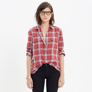 Madewell Ex-boyfriend Shirt In Cherry Plaid