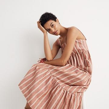 Madewell Seamed Midi Dress In Stripe