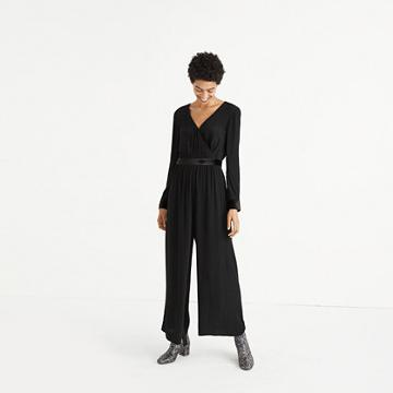 Madewell Velvet-trimmed Tie Jumpsuit