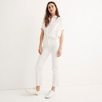 Madewell Cali Demi-boot Jeans In Pure White: Raw-hem Edition