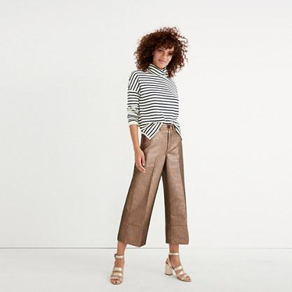 Madewell Langford Wide-leg Crop Pants In Metallic