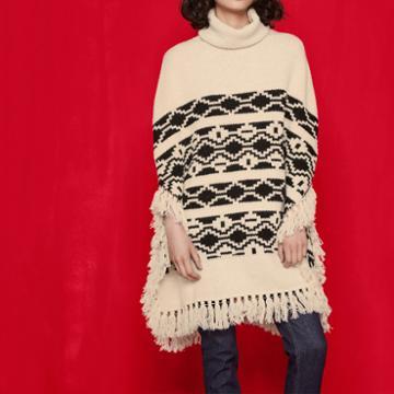 Maje Jacquard-knit Ethnic Poncho
