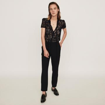Maje Guipure Lace And Crepe Jumpsuit