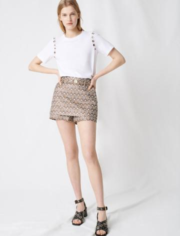 Maje Jacquard Shorts With Removable Belt