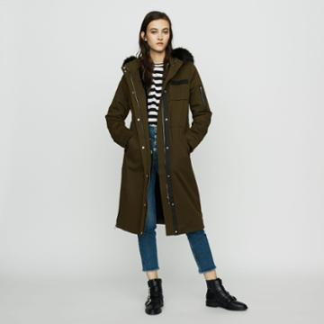 Maje Long Parka With Hood And Faux Fur