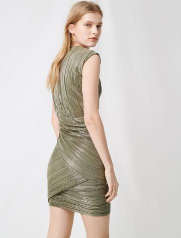 Maje Pleated Gold Lurex Dress