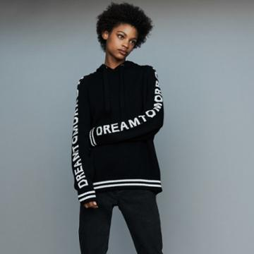 Maje Oversize Hooded Graphic Sweater