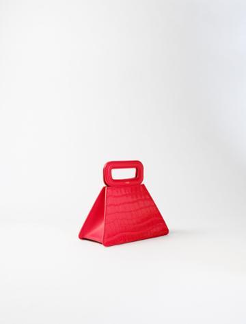 Maje Crocodile-effect Leather Pyramid