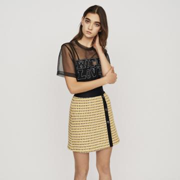Maje Short Skirt In Tweed And Lurex