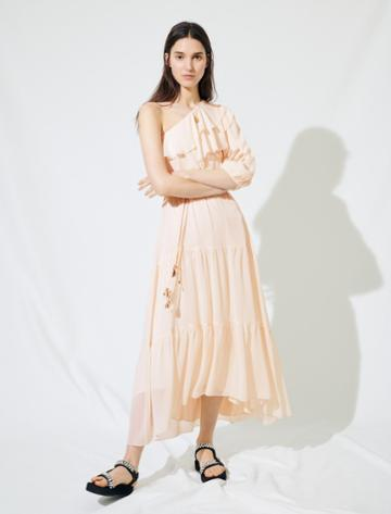 Maje Asymmetrical Muslin Dress