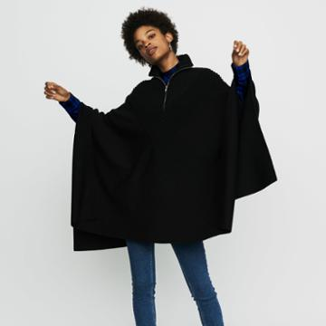 Maje Knit Poncho With Trucker Collar