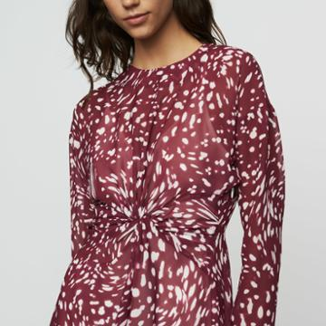 Maje Print Asymmetric Dress With Draping