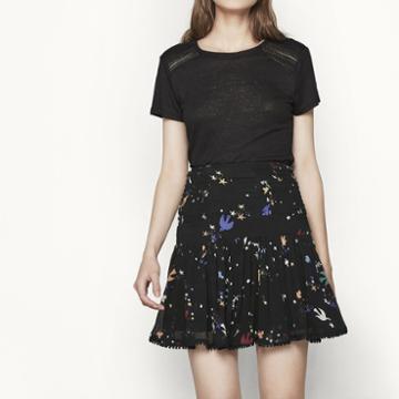 Maje Printed Chiffon Skirt