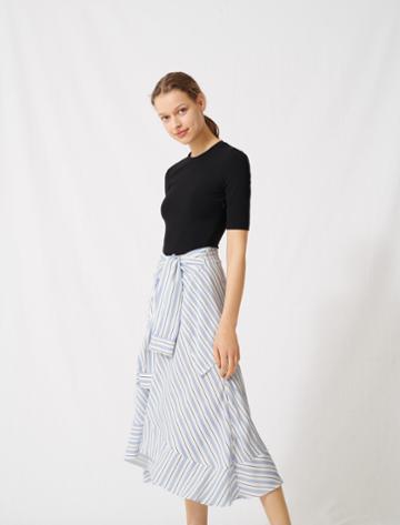 Maje Hybrid Dress With Striped Skirt