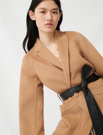 Maje Camel Belted Coat