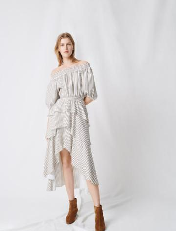 Maje Striped Smocked Dress With Ruffles