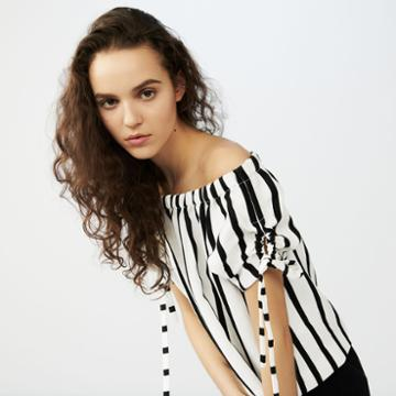 Maje Striped Crop Top