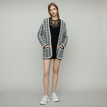 Maje Long Cardigan Jacket In Tweed-style