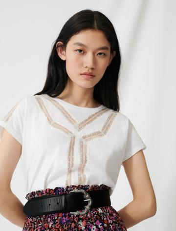 Maje T-shirt With Inlaid Lace Details