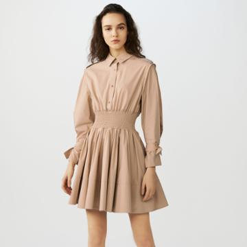 Maje Smocked Shirt Dress