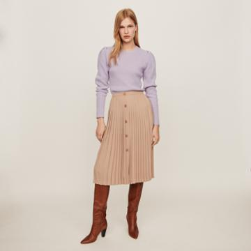 Maje Pleated Skirt With Buttons