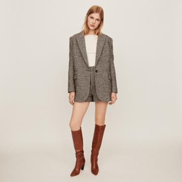Maje Checkered Jacket-style Coat