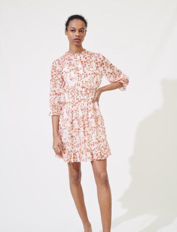 Maje Printed Smocked Dress