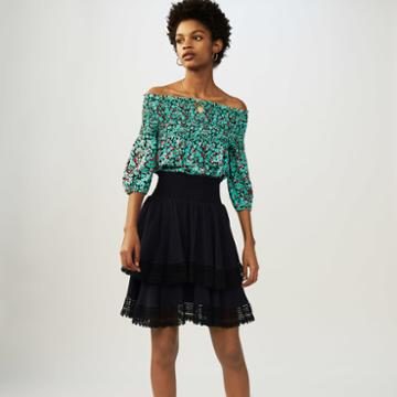 Maje Flounced Skirt With Lace
