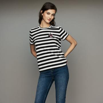 Maje Striped Cotton T-shirt With Crest