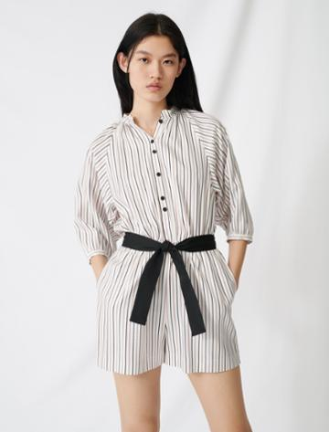 Maje Belted Pinstriped Jumpsuit