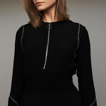 Maje Long Sleeve, Studded Dress