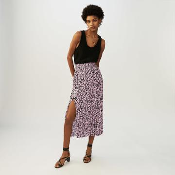 Maje Printed Pleated Skirt