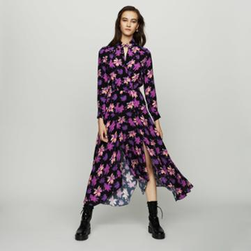 Maje Long Asymmetric Dress In Floral Print