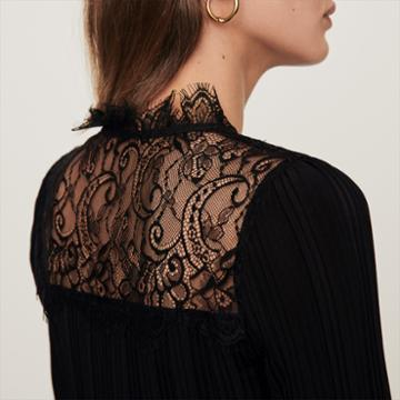 Maje Pleated Top With Lace Trim