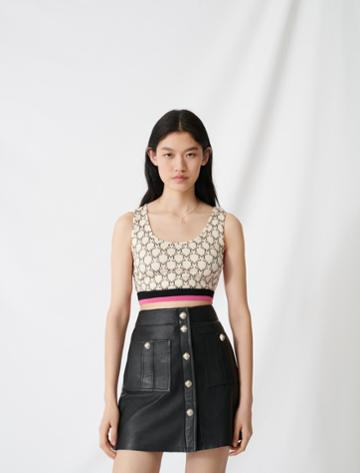 Maje Sporty Crop Top With All-over Monogram