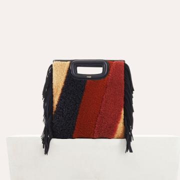 Maje M Bag In Shearling And Leather