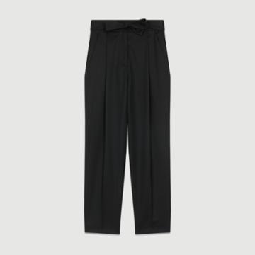 Maje Pleated Peg Pants In Virgin Wool