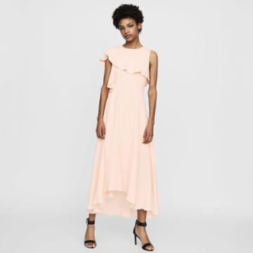 Maje Long Sleeveless Asymmetric Crepe Dress